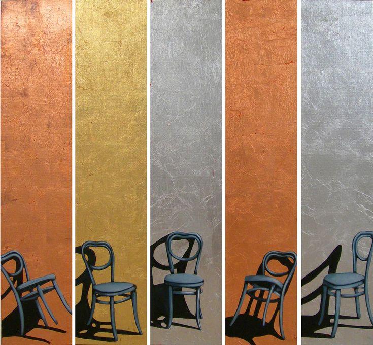 Life is A Paradise of Lies, 2012 by Hannu Palosuo. Oil and metal on canvas, 90 x 20 cm each. Price 4600€. Inquiries: sari.seitovirta@seitsemanvirtaa.com / GALERIE SEITSEMÄN VIRTAA
