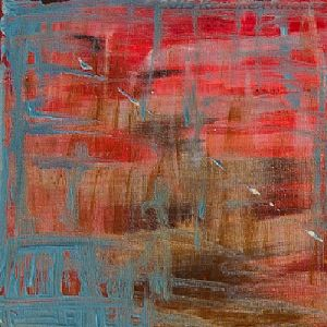 Reflections of Innocence - Blood red landscape with pure blue crosses depicting the innocent people caught in the crossfire of war - Day Five Chilli Chocolate by ©2015 Kendrea Rhodes