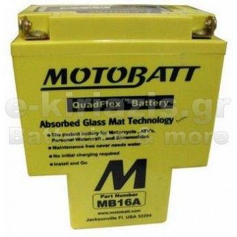 Μπαταρία μοτοσυκλετών MOTOBATT MB16A - 12V 18 (10HR)Ah - 200CCA εκκίνησης