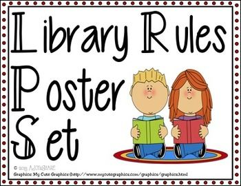Super cure 'Library Rules' poster set