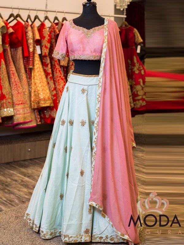 Buy pastel pink and ice blue lehenga choli for engagement and magni.