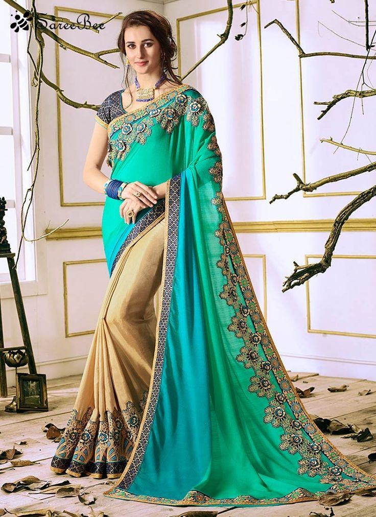 Eye-Catchy Faux Georgette Embroidered Work Half N Half Saree  This beige and sea green faux georgette half n half saree is including the lovely glamorous displaying the sense of cute and graceful. This gorgeous attire is showing some superb embroidery done with embroidered and lace work. Comes with matching blouse.