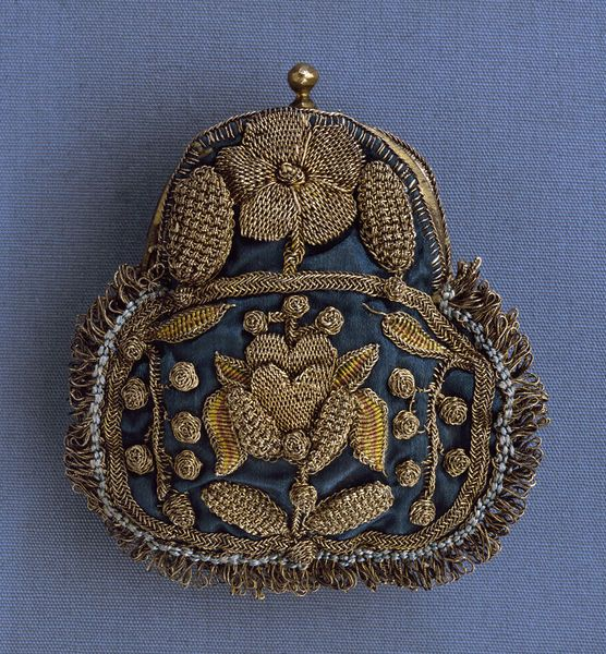 Silk with Metal Thread Purse, circa 1680, England. Purses were small in the first half of the seventeenth century. Some were shaped from two pieces of fabric in a square or oblong, which closed with double drawstrings and were embellished with tassels. Others were rounded with a curved metal frame that closed with a latch or 'snap-hance'. Via V&A.