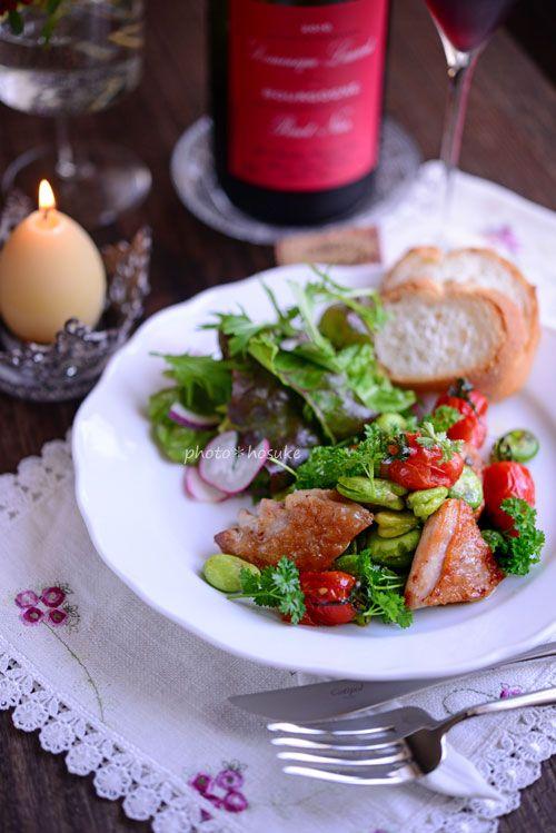 花ヲツマミニ 「鶏肉と空豆のパセリバター」