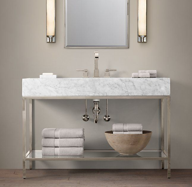 Metal Leg Bathroom Vanity. For The Guest Bathroom But With Aged Steel Legs And Carrerra Marble Top Hudson Metal Extra Wide Single Washstand