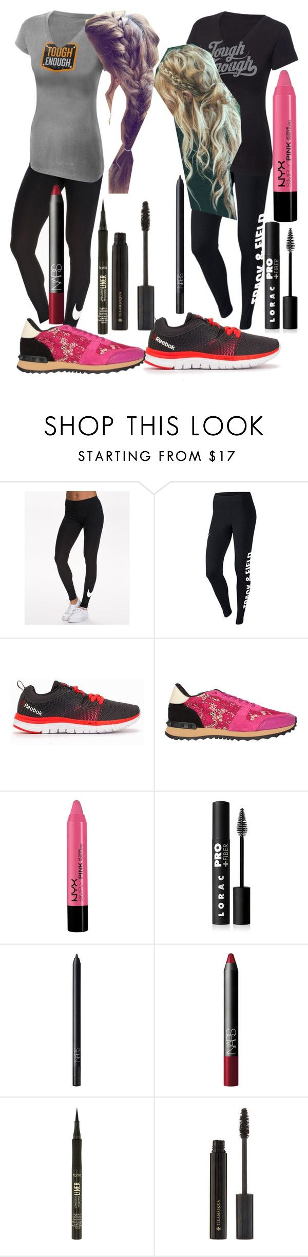 "Isabelle ""Belle"" Woods WWE Tough Enough outfits. by blackwidowajlee on Polyvore featuring NIKE, Valentino, NYX, Illamasqua, LORAC, NARS Cosmetics and tarte"