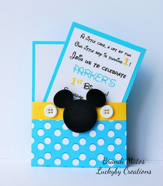 Mickey Mouse Invitations Set of 8 Baby Blue by LUCKYBYCREATIONS