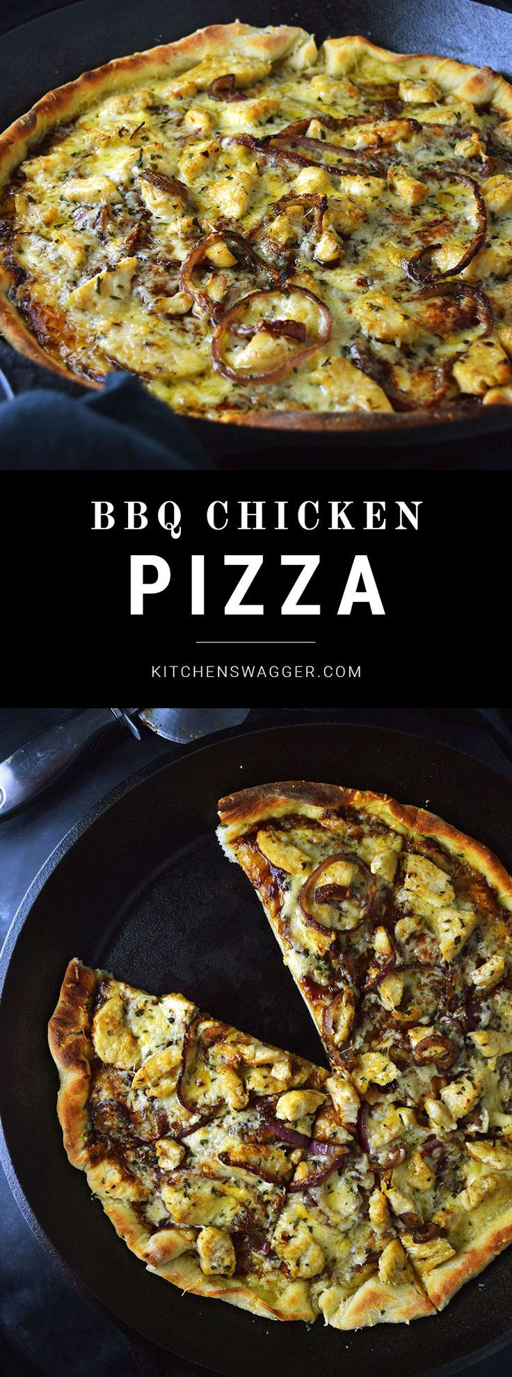 BBQ chicken pizza made in a cast iron skillet.