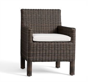 Torrey Square Arm Dining Chair Cushion Slipcover, Sunbrella(R) Gray Stripe