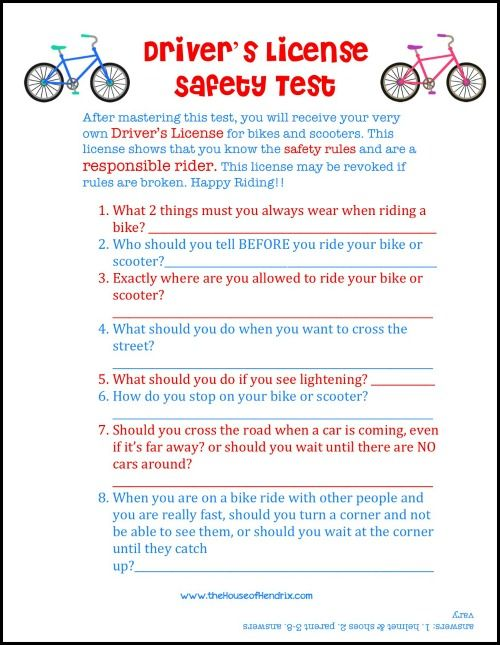"After your child takes this printable ""driver's safety test"" they receive their own printable Driver's License. Great way to bring fun and responsibility to scooter & bike rules."