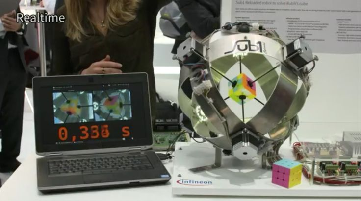 A robot can solve a Rubiks Cube in 637 milliseconds A robot called the Sub1 Reloaded can unscramble a Rubiks Cube in 637 milliseconds  considerably less than the fastest human time of 4.9 seconds. The robot built by self-driving chipmaker Infineon uses six motors to turn and twist the cube after another computer scans it solves the puzzle virtually. The arms quickly begin to move the cube into a solved position.  The robot is so fast that you can barely see the sides moving as it resolves…