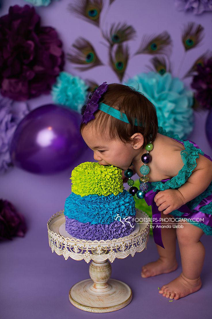 Smash Cake session Peacock theme, purple, green and aqua blue.