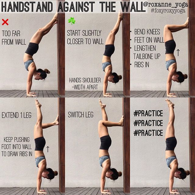 Handstand against the wall The wall is a great friend in helping you deal with the fear of falling, then it becomes a great support in helping you work on your awareness and alignment. Similar to my previous tutorial on using the wall for pinchamayurasa, this is how I use the wall to work on my handstand, building the strength and confidence to stay on my hands. #foxyroxyyoga #practiceandalliscoming