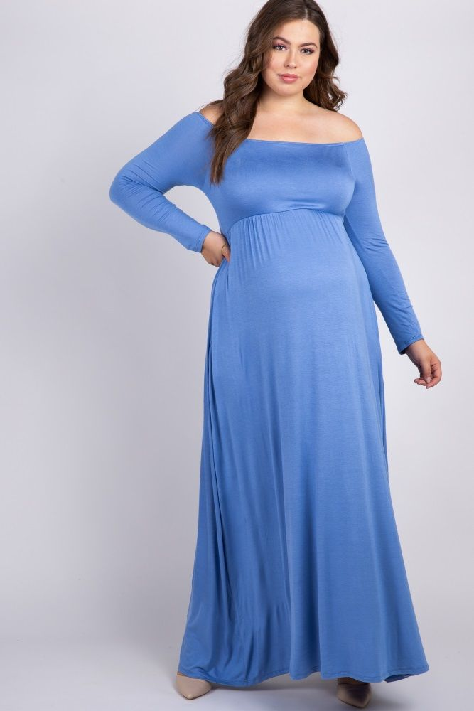 8545cd7056997 Light Blue Solid Off Shoulder Plus Maternity Maxi Dress in 2019 ...