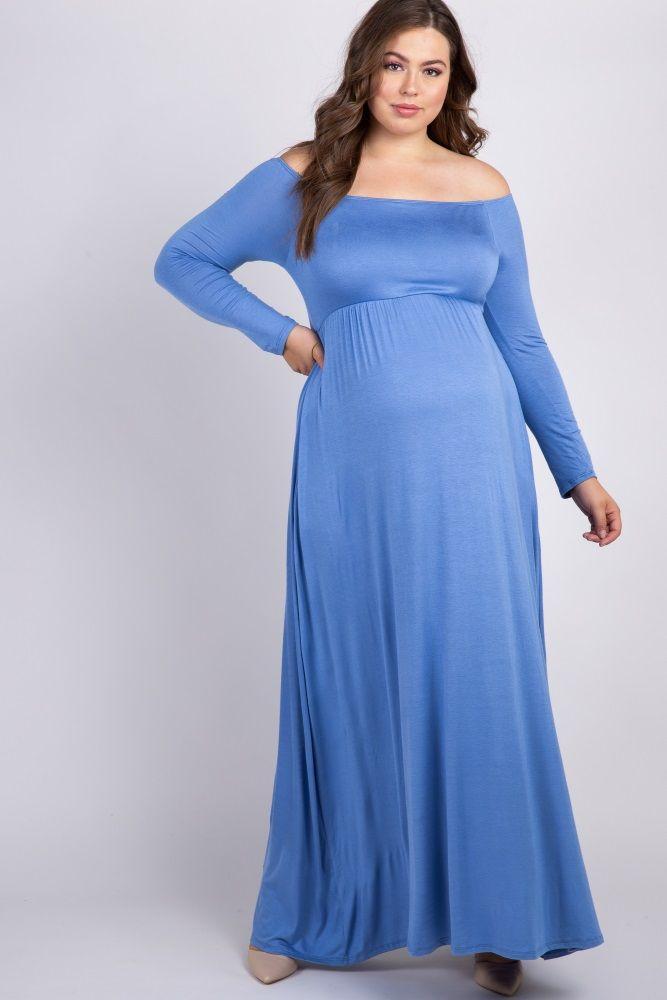 19c35abe133 Light Blue Solid Off Shoulder Plus Maxi Dress | Elegant gown in 2019 ...