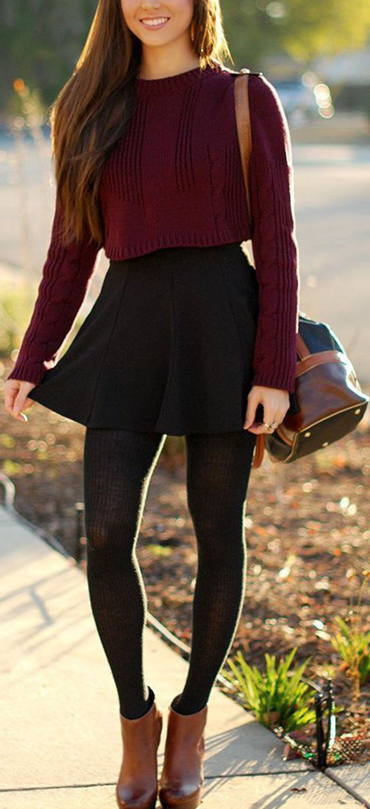 Classy Winter Outfit Ideas for Teenagers for Teen Girls Crop Top Skater Skirt Stockings Booties - www.Poshiroo.com