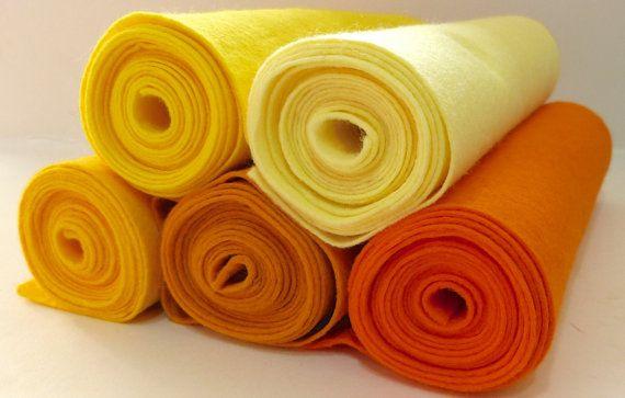 Wool Blend Felt MINI ROLL 25cm x 180cm - Orange Yellow Shades