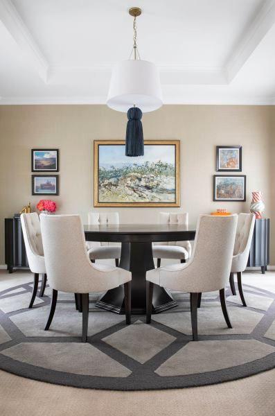 Custom made hand tufted textured cut and loop design. #interiors #interiordesign #diningroom #rug #custommade #australianmade