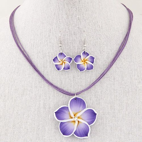 Fashion Polymer Clay Flower Pendant Necklace Earrings Set Wedding Bridal Jewelry Sets for Women Girl Flower Necklace Jewelry