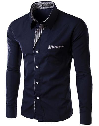 New Brand Camisa Masculina Long Sleeve Shirt Men Korean Slim Design Formal  Casual a696b3e0cd6