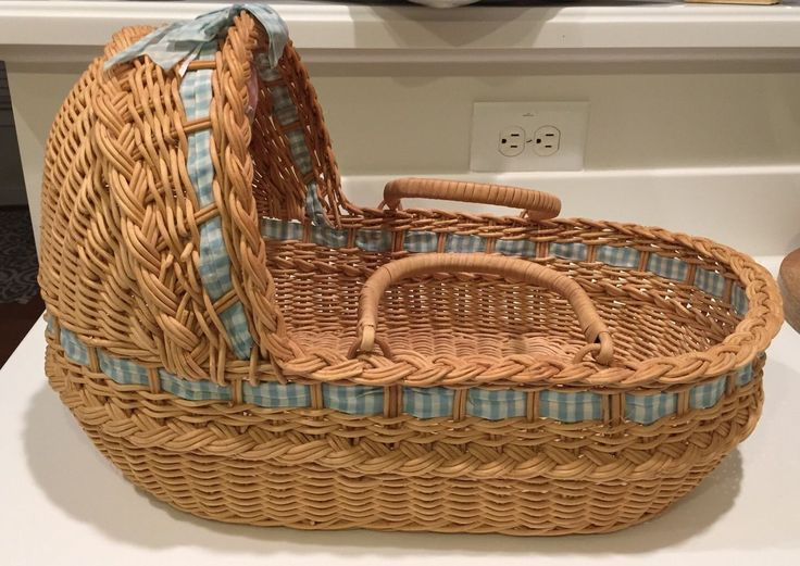 American Girl Bitty Baby Doll Wicker Moses Basket Bassinet Bed Blue Pad Padded | eBay