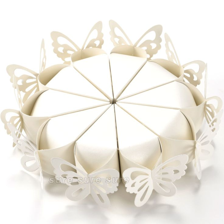 50 Pcs Butterfly Favor Gift Candy Boxes Cake Style for Wedding Party X'mas Ivory in Home, Furniture & DIY | eBay