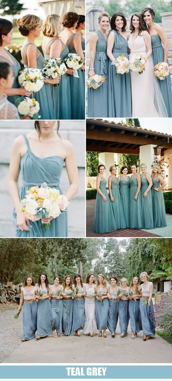 teal gray wedding ideas and bridesmaid dresses trends 2016