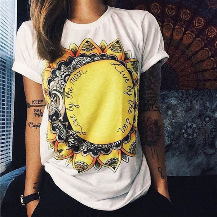 Item Type: Tops Tops Type: Tees Gender: Women Decoration: None Clothing Length: Regular Sleeve Style: Regular Pattern Type: Print Style: Fashion Fabric Type: Broadcloth Material: Cotton,Polyester Fit: