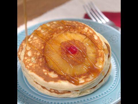 Pineapple Upside Down Pancakes...  ½ c. Butter, divided (¼ c. melted), ½ c. Brown Sugar, 1 (20 oz) can Pineapple Slices, 2 ½ c. Flour, 2 T. Baking Powder, 2 T. Baking Soda, ¼ tsp Salt, 2 ½ c. Whole Milk, ½ c. Sugar, ¼ tsp Pure Vanilla Extract, Maraschino Cherries...
