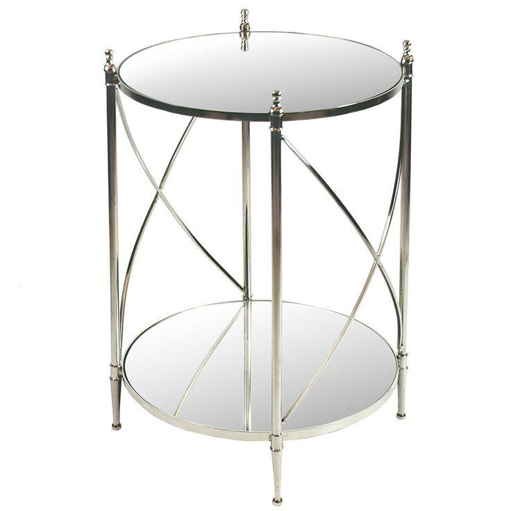 Elegant Accent Table With Nickel Plated Stainless Steel And Brass Base With  A Mirror Glass Top. U003cbru003eu003cbru003eu003culu003e Inches High X 20 Inches In Diameteru003c/liu003e  ...