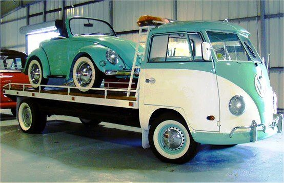 Shortened VW Beetle on Kombi transporter.