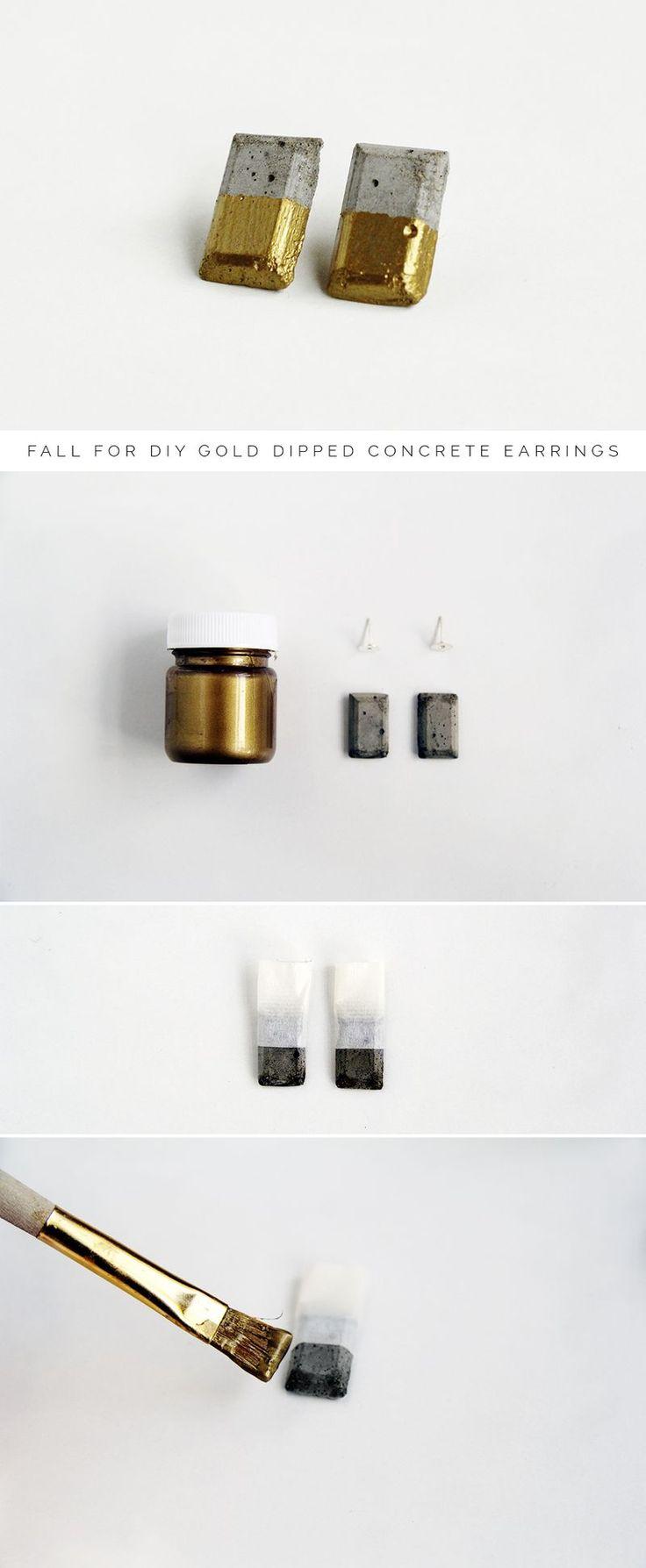 DIY Gold Dipped Concrete Earrings Tutorial