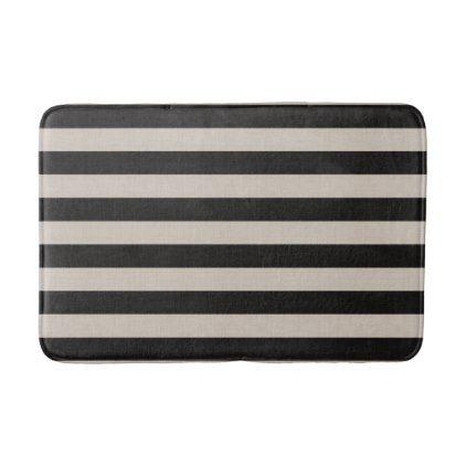 Farmhouse Black Linen Stripes Bath Mat - rustic gifts ideas customize personalize