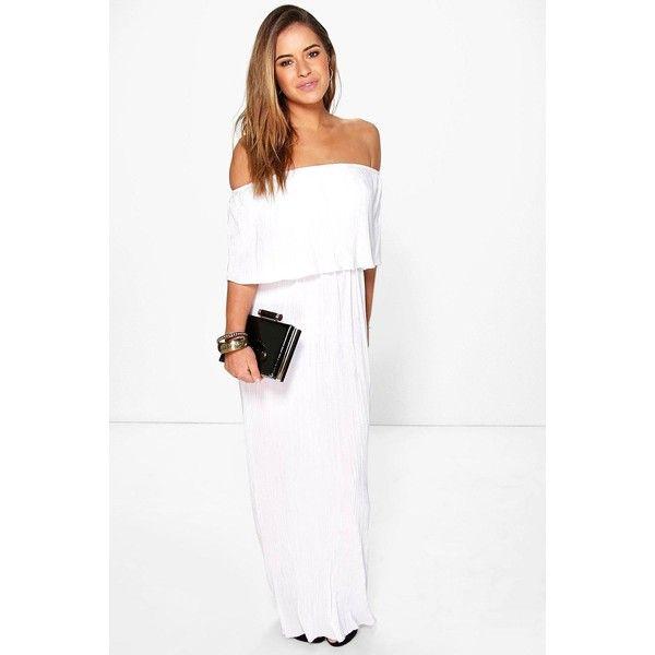 Boohoo Petite Petite Helen Bardot Pleat Fabric Maxi Dress ($35) ❤ liked on Polyvore featuring dresses, white, petite white dresses, going out dresses, pleated dress, cotton maxi dress and party dresses