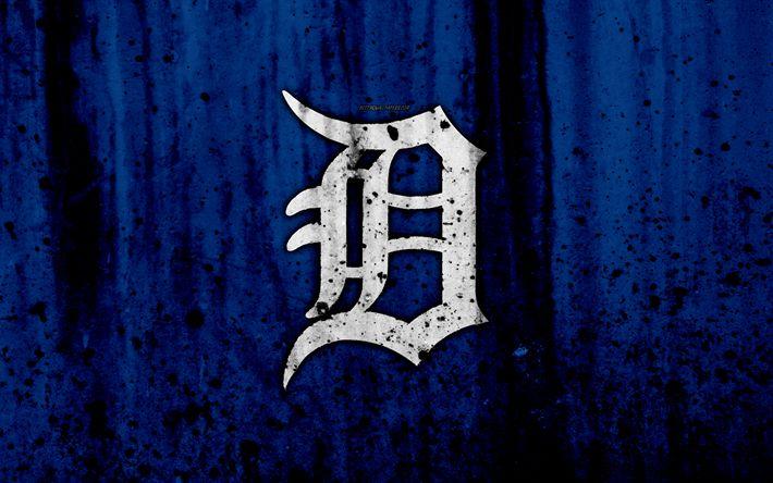 Download wallpapers 4k, Detroit Tigers, grunge, baseball club, MLB, America, USA, Major League Baseball, stone texture, baseball