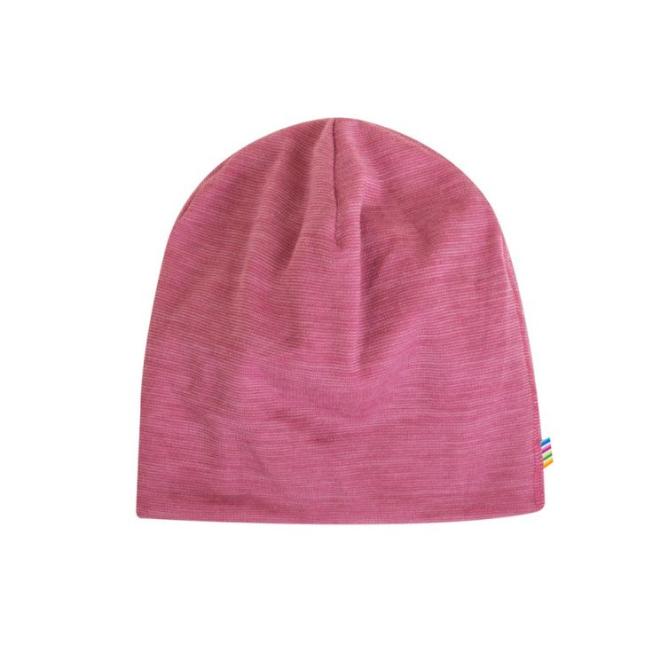 Beanie hat 100% wool, thin pink stripes, by Joha from Denmark (available at Lillahopp)