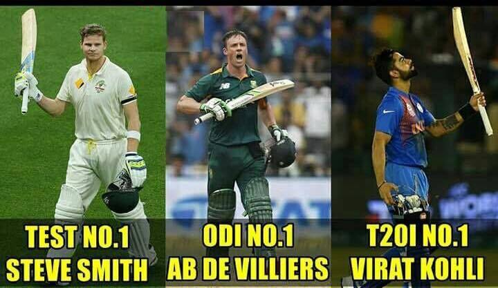 Top 3 batsmen across all formats as per latest ICC rankings Steve Smith AB de Villiers & Virat Kohli - http://ift.tt/1ZZ3e4d