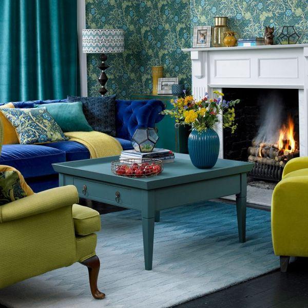 Idees De Salon Vert Le Calme De La Nature Chez Vous Salon Vert Decoration Salon Jaune Decoration Salon Bleu