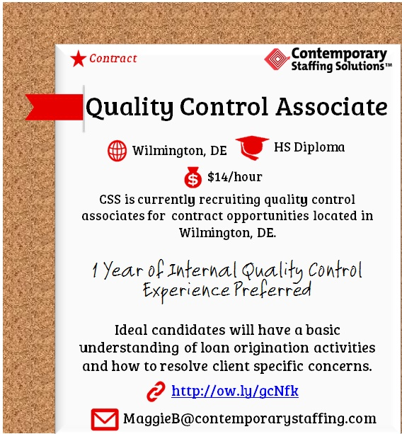 CSS is #hiring Quality Control Associates in Wilmington, DE $14 - resume for quality control