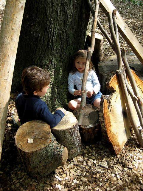 play area for children outside...surrounded by natural materials...loose parts ideas