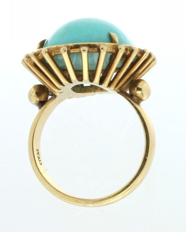 Victorian 18K Yellow Gold & Turquoise Ring