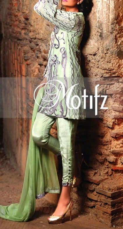 Buy Apple Green Embroidered Crinkle Chiffon Dress by Motifz 2016