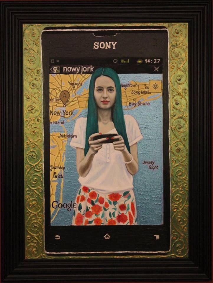 """,,Zielona Karta"""" 2013-14r. olej-akryl na płótnie, 100x70cm. Obraz uczestniczył w 42. Biennale Malarstwa """"Bielska Jesień 2015"""" w Bielsku-Białej"""