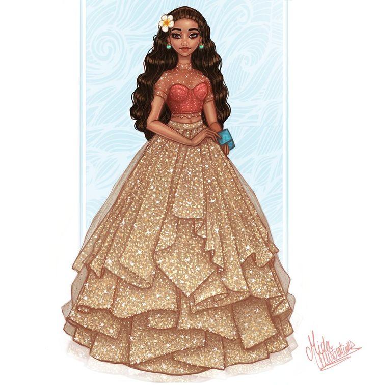 Designer Moana in her new beautiful ballgown dress
