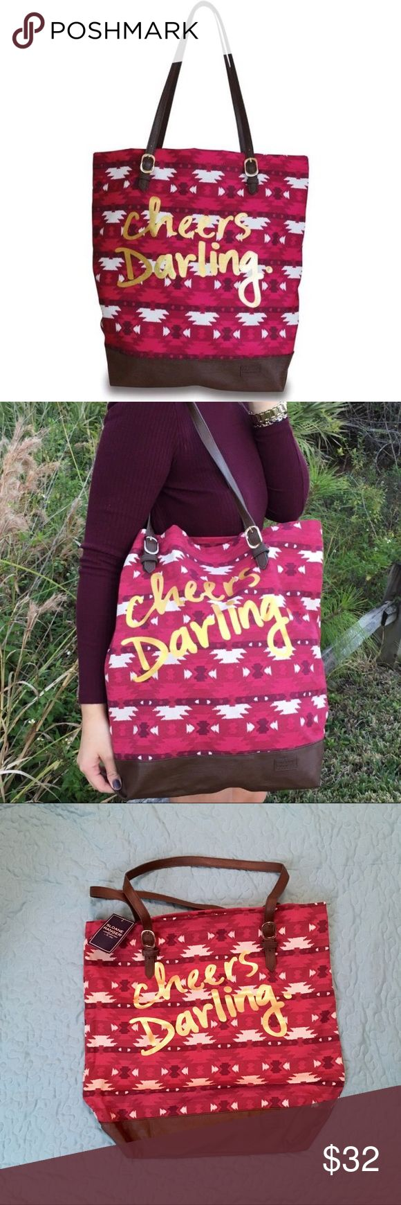 "JUST IN‼️ ""Cheers Darling"" Canvas Tote Bag brand new and just in! Features embossed metal hardware and on-track Aztec print, as well as a cute slogan in gold! 100% cotton exterior and very durable. 💃  - Printed canvas with gold print detailing - Adjustable shoulder strap  - Vegan friendly leather trim  - Dimensions: 17"" x 4.65"" x 16"" - Imported - Original price: $48 All For Color Bags Totes"