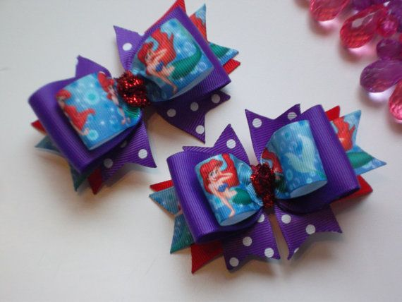 Little Ariel Bows for Toddlers Inspired by Princess Ariel Little Mermaid Bow Pigtail Bow Set- make two small bows like this for pig tails :)