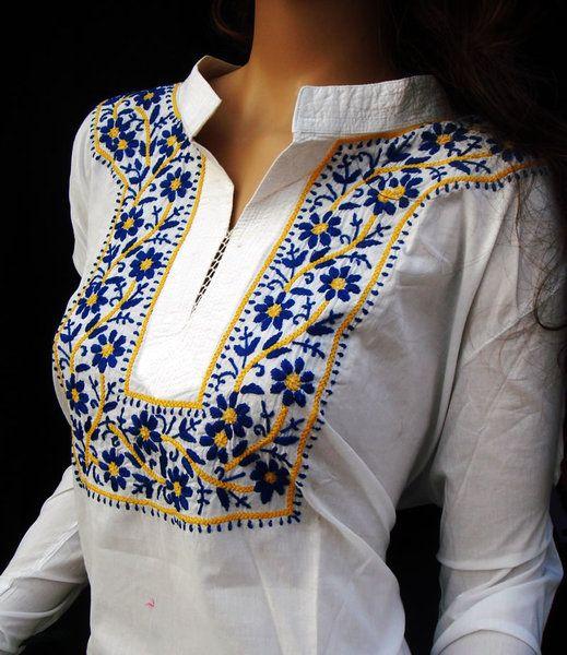 VERANO DE ALGODÓN TOP TÚNICA PARA MUJERES DISEÑADOR Étnicas Chikankari MANO POLO BORDADO   Nuestras prendas bordadas son disponibles en una amplia gama de atractivos diseños y colores, en los...
