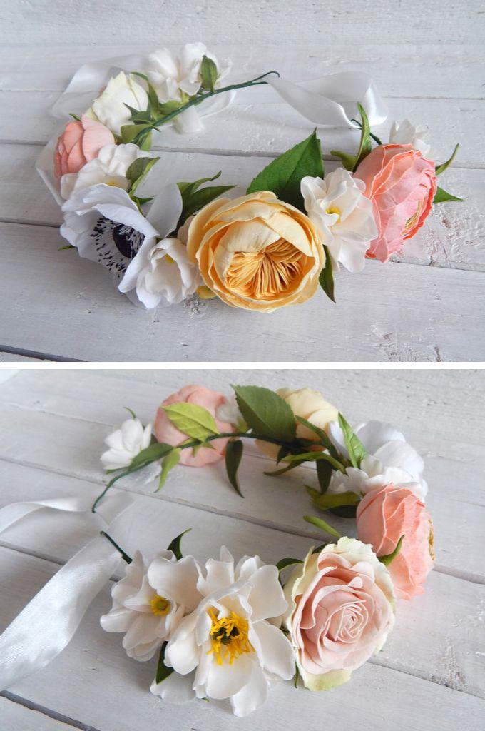 Flowers Floweraccessories Wedding Weddings Anemone Davidaustin Roses Ranunculus Bride Boho Floral Crown Bridal Flower Crown Boho Bridal Jewelry
