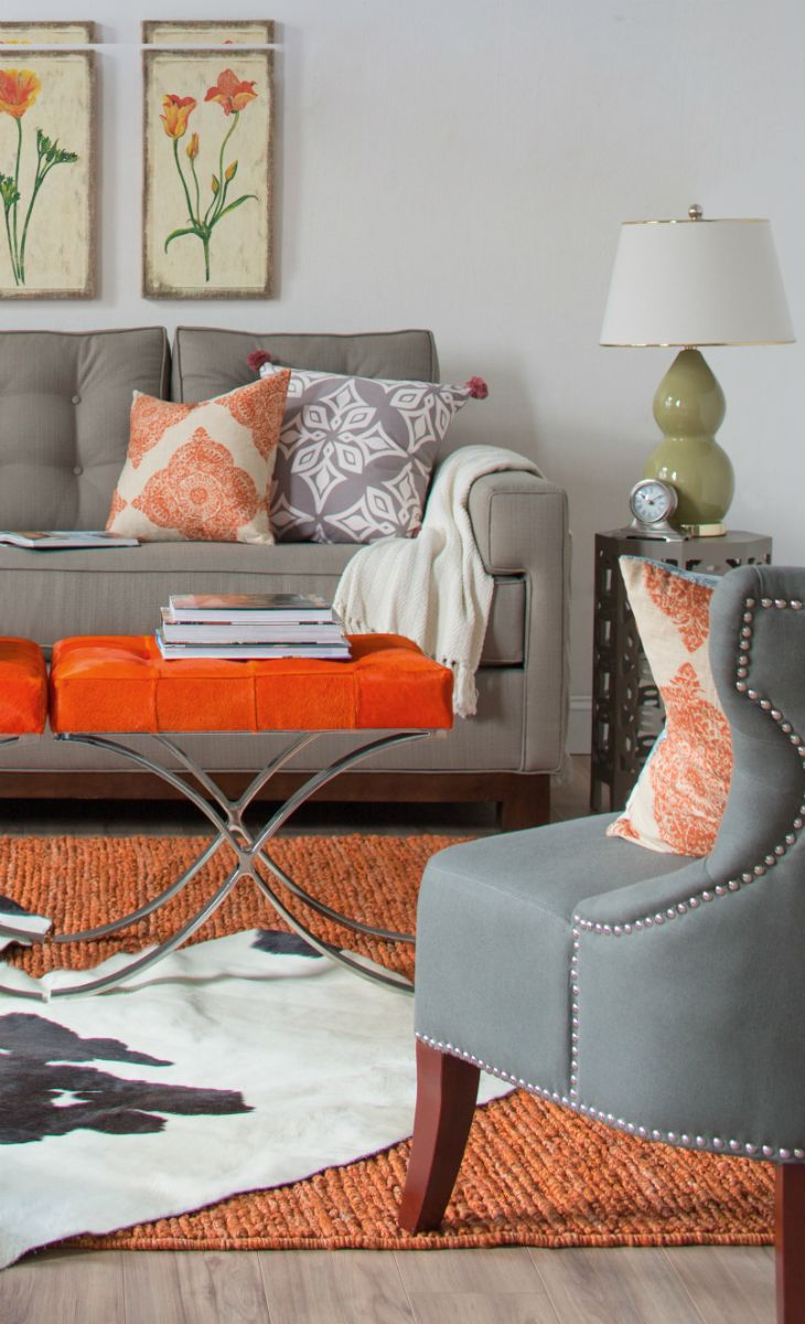 Orange and grey living room accent piece orange accent for Grey orange living room