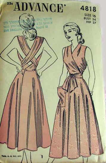 40s wrap sundress day casual Advance 4818 - Reproduction pattern available at Decades of Style.